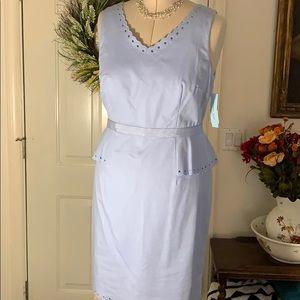 Sheath dress with side peplum